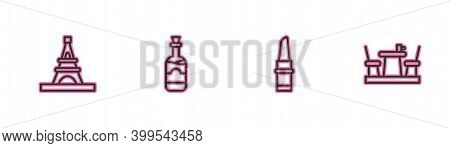 Set Line Eiffel Tower, Lipstick, Bottles Of Wine And French Cafe Icon. Vector