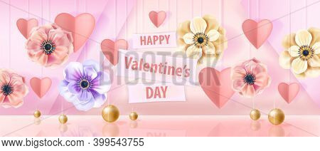 Happy Valentine's Day Love Vector Background, Greeting Card With Anemone Flowers, Paper Cut Hearts.
