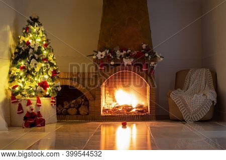 Christmas Background,decorated Christmas Tree, Bright Lights, Stone Fireplace, Christmas Tree Garlan