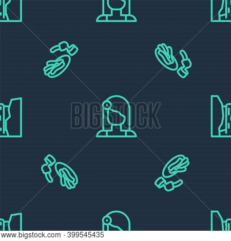 Set Line Spanish Woman, Churros And Chocolate And Algar Waterfall On Seamless Pattern. Vector