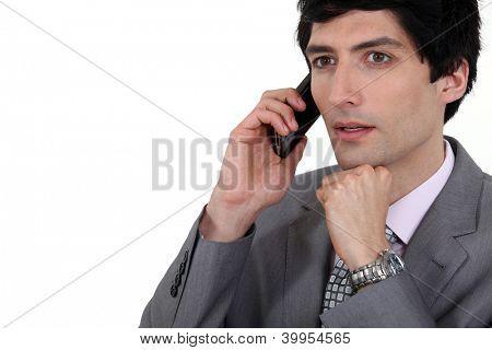 Man having perturbating news.