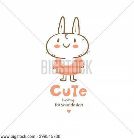 Vector Card With Cute Cartoon Bunny In Dress. Cheerful Rabbitin In Clothes. Funny Hare Print. Anthro