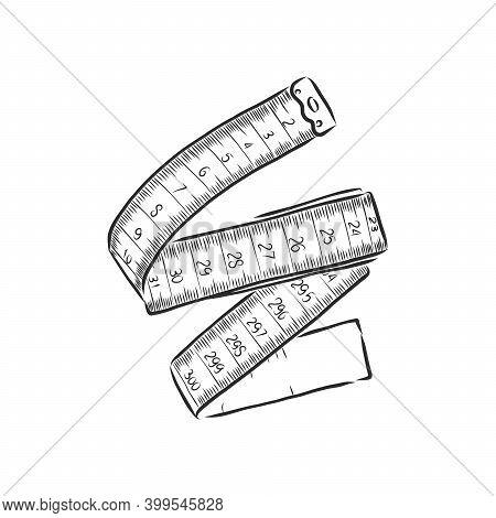Hand Drawn, Sketch Illustration Of Measuring Tape. Centimeter Tape Vector Sketch Illustration