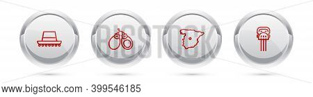Set Line Spanish Hat, Castanets, Map Of Spain And Peineta. Silver Circle Button. Vector