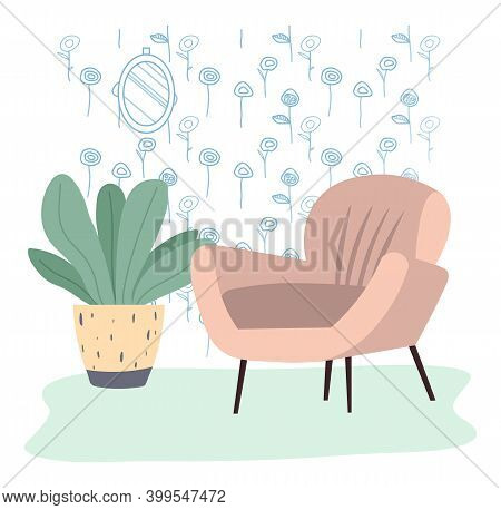 Comfortable Flesh Color Couch And Flower In A Vase. Furniture For Interior Design Flat Vector Illust
