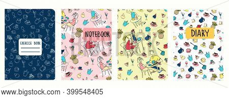 Cover Page Vector Templates Based On Patterns With Hand Drawn Cafe Scenes, Cakes, Other Objects. Gir