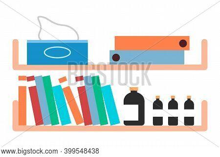 Shelf With Folders, Documents, Disposable Napkins, Medicine Bottles, Drug Bottle, Medical Records, R
