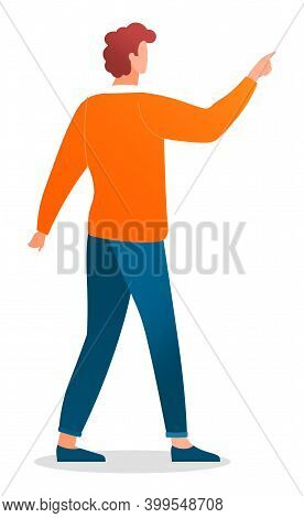 Young Man Caucasian With Red Curly Hair Standing At Full Height Making A Pointing Gesture With Finge