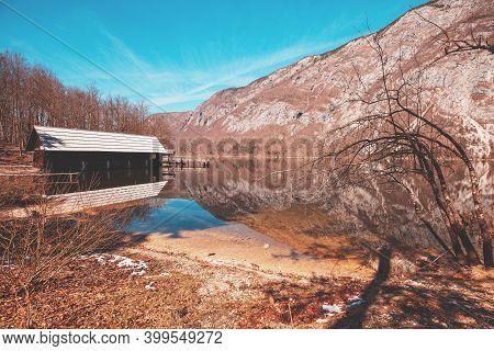 Mountain Lake Bohinj. Beautiful Spring Nature Of Slovenia, Europe
