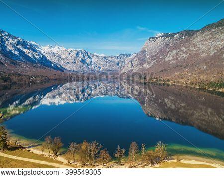 Mountain Lake. Lake Bohinj In Early Spring. Triglav National Park. Beautiful Spring Nature Of Sloven