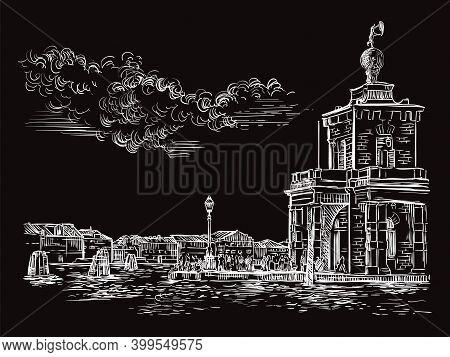 Venice Drawing Vector Illustration Della Dogane Punta Black