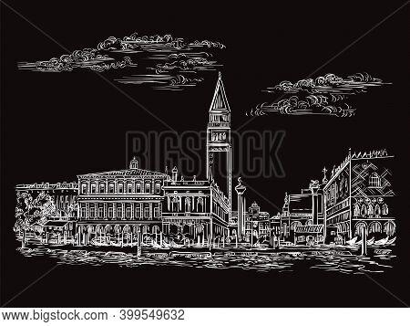 Venice Drawing Vector Illustration St Marks Square Black
