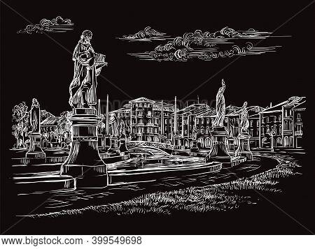Venice Drawing Vector Illustration Prato Della Valle In Padua Black
