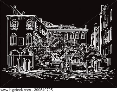 Venice Cityscape Drawing Vector Illustration Canal And House Black