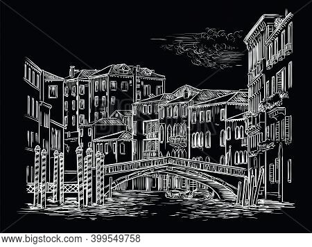 Venice Drawing Vector Illustration Bridge Above Canal Black