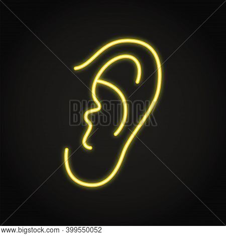 Neon Human Ear Icon In Line Style