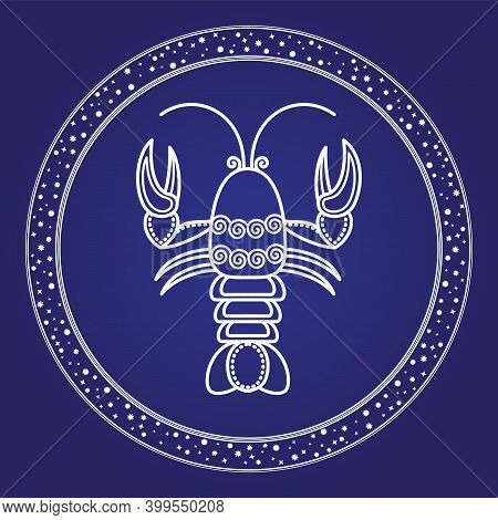 Cancer Astrology Zodiac Symbol In Circle Shape With Star Symbols. Outline Of Crayfish Character Astr