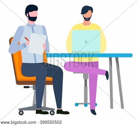 Brokers Teamwork, Man Working With Laptop, Colleague Writing. Employees Collaboration, Workers In Of