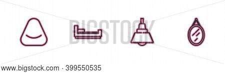 Set Line Pouf, Chandelier, Bed And Mirror Icon. Vector