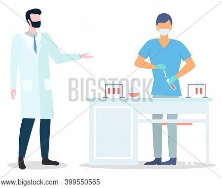 Assistant Wearing Face Mask Making Scientific Researches Holding Flask With Liquid. Scientist In Med