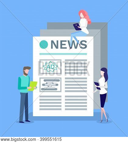 Content Makers For Newspaper Vector. Mass Media Printed Broadcasting, Man And Woman Working With Tex