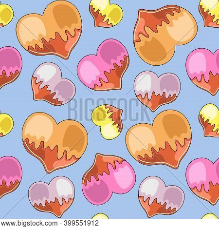 Seamless Vector Pattern With Gingerbread In The Form Of Heart