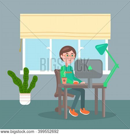Programmer In Eyeglasses With Hot Coffee On Table Sitting And Using Computer. Quarantine Distance Wo