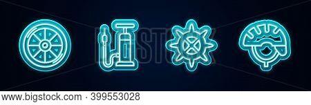 Set Line Bicycle Wheel, Air Pump, Sprocket Crank And Helmet. Glowing Neon Icon. Vector