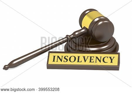 Judge Gavel And Insolvency Banner, 3d Rendering