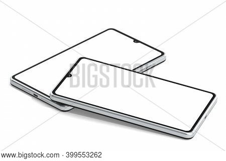 Two Mobile Phones Isolated On White Background, 3d Rendering