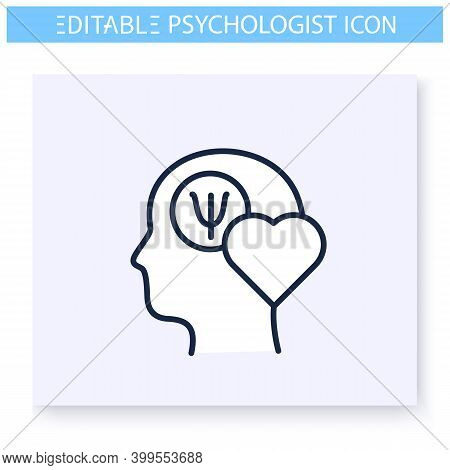Psychological Health Line Icon. Psychics, Cognitive Health. Lifestyle. Psychotherapy. Mental Healthc