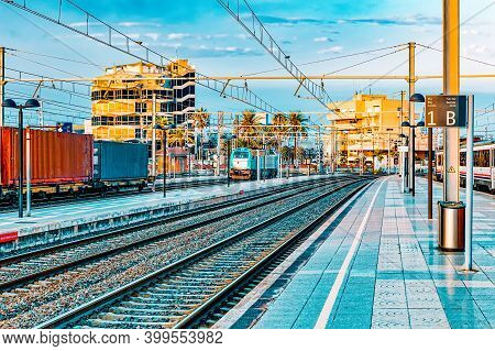 The Big Railways Stations Of Valencia With Trains.spain. Catalonia