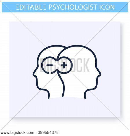 Bipolar Disorder Line Icon. Psychological Problem. Manic-depressive Illness. Psychotherapy. Mental H