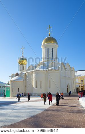Sergiev Posad, Russia - February 27, 2018: Winter View Of The Trinity Cathedral In The Holy Trinity