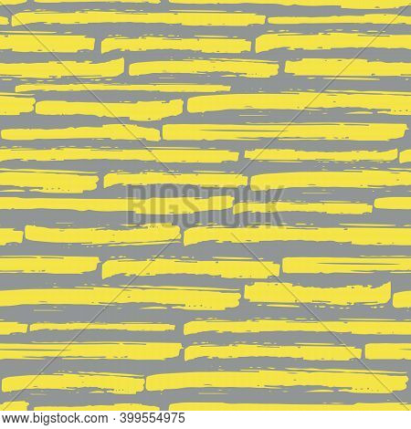 Linear Geometric Broken Stripe Seamless Vector Pattern Background. Yellow Grey Coarse Painterly Brus