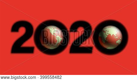 Happy New Year 2020 Earth Background. Greeting Card 2020 Fonts Planet Flyer. Color Of Date 2020 New