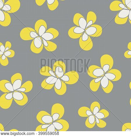 Yelllow Grey Flowers Seamless Vector Pattern Background. Fun Simple Organic Hand Drawn Floral Backdr