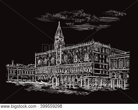 Vector Hand Drawing Sketch Illustration Of Palace In Venice. Venice Skyline Hand Drawn Sketch In Whi