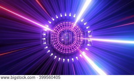 Glowing Particles Rotation Sci-fi Tunel 3d Illustration Design Background Wallpaper Artwork
