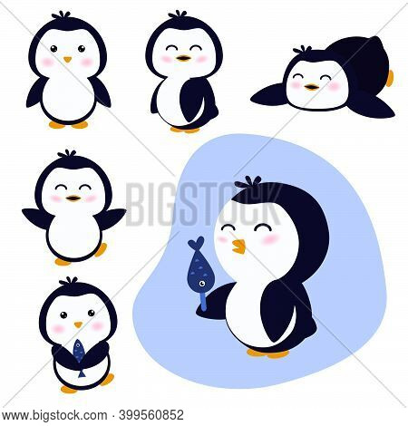 Set Of Cute Penguins. Cartoon Children Illustration With Nice And Funny Penguin In Different Positio