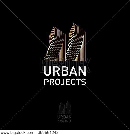 Urban Project Logo. Icon Of Architect Bureau. Gold Towers And White Letters. Logo Can Used For Build