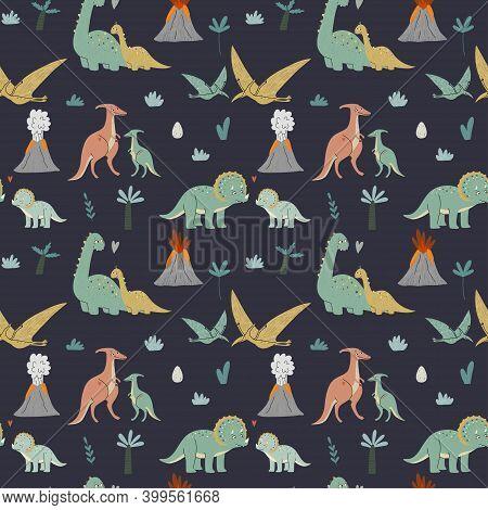 Seamless Pattern Cute Dinosaurs, Mom And Baby. Prehistoric Era. Childrens Illustration.