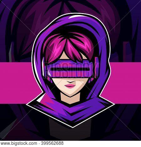 Cyber Gamer Girl Esport Logo Mascot Design. Vector Illustration.