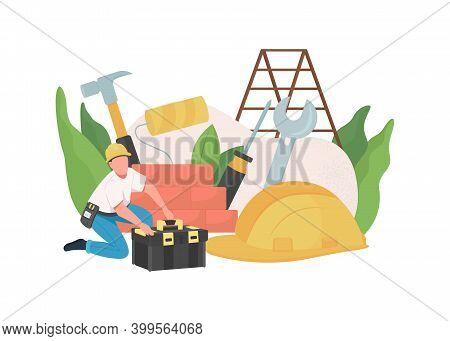 Handyman Flat Concept Vector Illustration. Service Worker. Repairman Profession. Builder Job. Engine