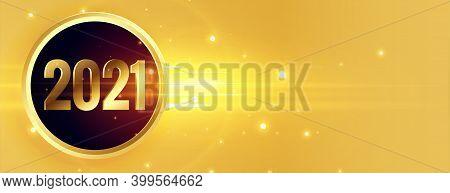 Shiny Golden 2021 Happy New Year Banner Design