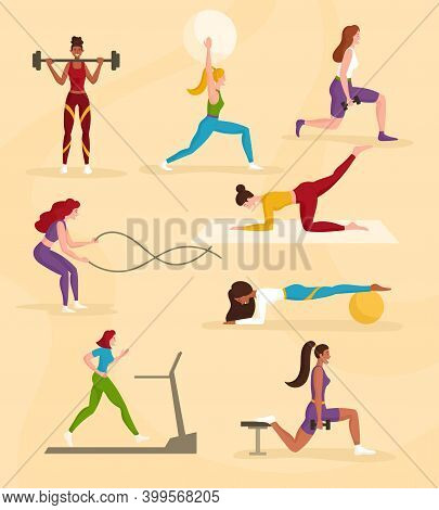 Diverse Multiracial Women Exercising In The Gym. Treadmill Running, Barbell Lifting, Yoga, Dumbbell