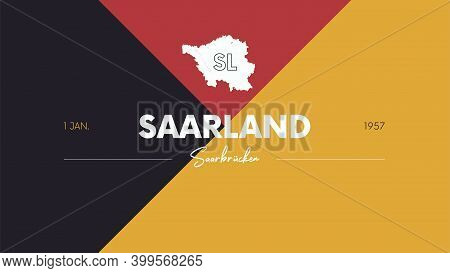 12 Of 16 States Of Germany With A Name, Capital And Detailed Vector Saarland Map For Printing Poster