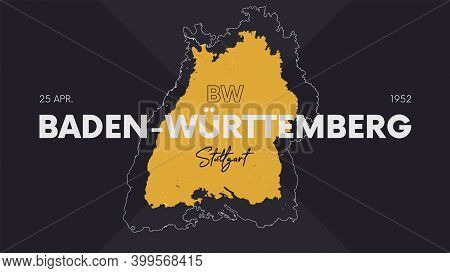16 Of 16 States Of Germany With A Name, Capital And Detailed Vector Baden-württemberg Map For Printi