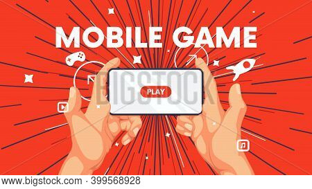 Business Background With Human Hand And Phone, Playing Video Games On Smartphone, Mobile Application