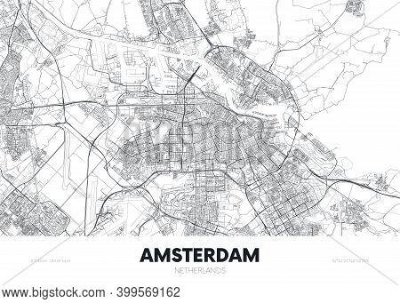 City Map Amsterdam Netherlands, Travel Poster Detailed Urban Street Plan, Vector Illustration